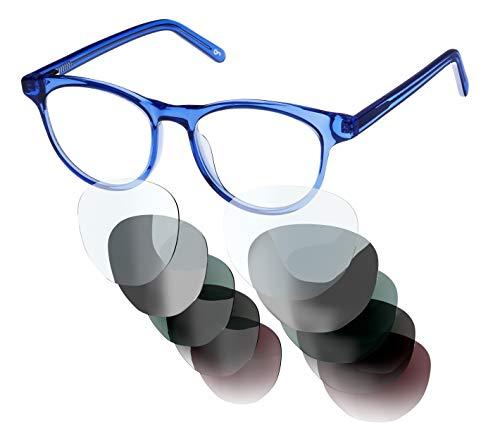 Sym Brille mit wählbarer Sehstärke von -4.00 (kurzsichtig) bis +4.00 (weitsichtig) und auswechselbare Gläser in 6 Farben, für Damen & Herren (Unisex), Modell 03 in Crystal Light Blue -