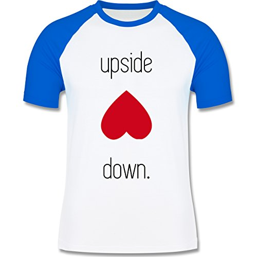 Statement Shirts - Spruch upside down - zweifarbiges Baseballshirt für Männer Weiß/Royalblau