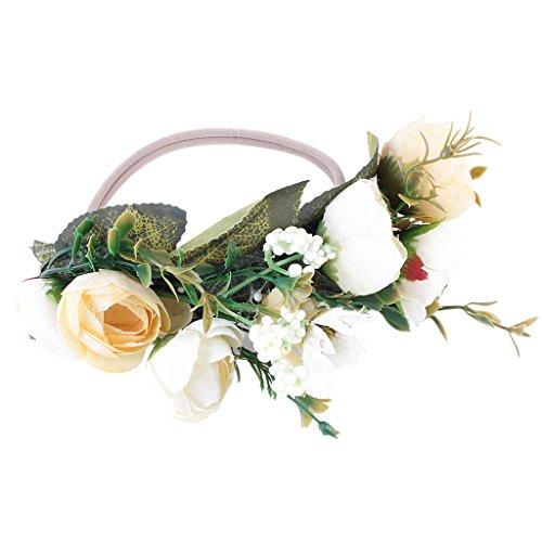 Sharplace Baby Kleinkind Mädchen Stirnband Blumenkranz Blumenkrone Haarband Haarschmuck Fotoshooting Kostüm - Weiß