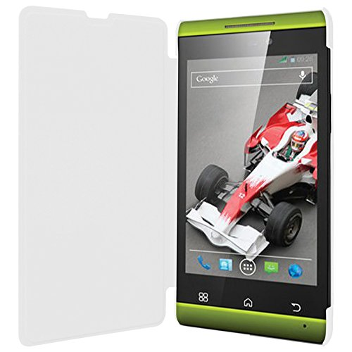 Xolo A550S IPS White Flip Cover Diary Folio Case + Free Screen Guard + Free OTG Connector - ECellStreet