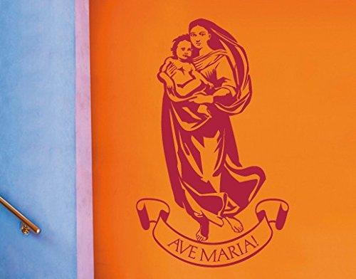 Wandtattoo No.UL601 Ave Maria Madonna Botticelli Jesus Kind Maria, Farbe:Creme;Größe:200cm x 122cm -