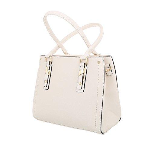 iTal-dEsiGn Damentasche Mittelgroße Schultertasche Handtasche Kunstleder TA-K703 Creme