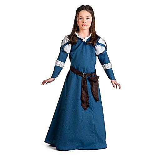 Elbenwald Mittelalter Burgmaid Kostüm Kinder Kleid Mädchen blau - 9/11 Jahre