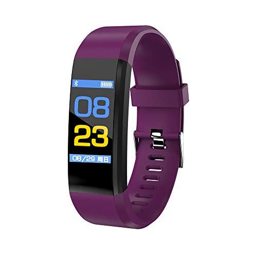 Rovtop 115 Plus Pulsera Reloj Inteligente de presión Arterial rastreador de Ritmo cardíaco Banda de Seguimiento de Actividad Inteligente Pulsera (Púrpura)