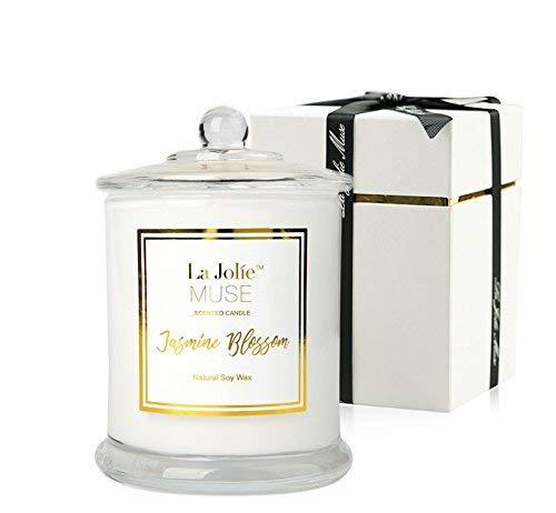 La Jolíe Muse Duftkerze Jasmin - 100% Sojawachs Aromatherapie Geschenk Kerze im Glas 60Std