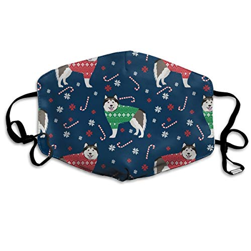 Alaskan Malamute Sweatshirt (Alaskan Malamute Xmas Sweater Dog Cute Dog Red and Green Navy Dust Mask Anti Dust Pollution Mask Washable Polyester Mouth Mask with Adjustable Straps)