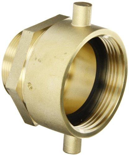 Npt Swivel-adapter (Moon 363-2522061 Brass Fire Hose Adapter, Pin Lug Swivel, 2-1/2 NH Swivel Female x 2 NPT Male by Moon)
