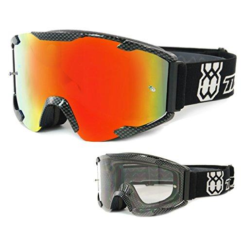 TWO-X Bomb Crossbrille Carbon Glas verspiegelt Iridium MX Brille Motocross Enduro Spiegelglas Motorradbrille Anti Scratch MX Schutzbrille