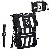 Juventus Schoolpack 2019/2020 Zaino Seven Estendibile con Astuccio 3 Zip Completo di Cancelleria e Orologio in Omaggio - 100% originale - 100% Prodotto Ufficiale