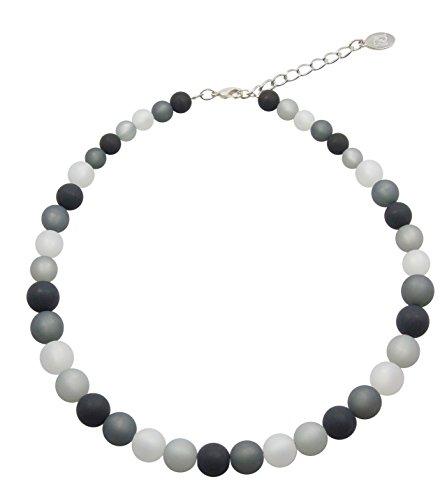 Halskette aus echten Polarisperlen ca. 45 cm + 4.5 cm PKE1217 schwarz ()
