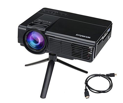 Mini Beamer HD, Video Projektor LCD Tragbarer Videoprojektor LED Projector Multimedia Heimkino mit HDMI Kabel unterstützt AV/ VGA/ USB/ SD/ HDMI WIMIUS(T3 Schwarz)