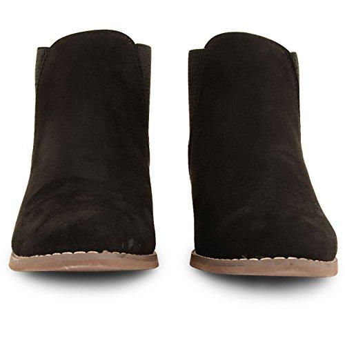 Femme Dolcis Chelsea Cheville Bottes Mesdames Faible Plat Bloc Talon Tirez sur Chaussures Taille Noir