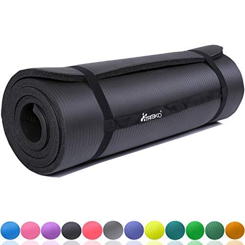 TRESKO Fitnessmatte Yogamatte Pilatesmatte Gymnastikmatte 6 Farben/Maße 185cm x 60cm in 2 Stärken/Phthalates-getestet/NBR Schaumstoff/hautfreundlich, kälteisolierend (Schwarz, 185 x 60 x 1.5 cm)