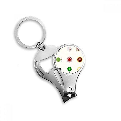 BeatChong Casino Klein Element Illustration Schlüsselanhänger Ring Toe Nail Clipper Cutter Scissor Tool Kit Flaschenöffner Geschenk