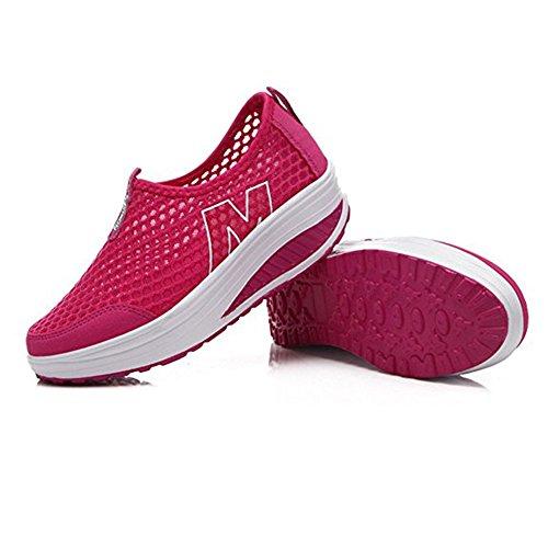 Sapatos Sapatos Superfície Tênis De Cunhas Calcanhar Loafers Sapatilha Casuais Em Cunha Da Rosa Rede Verão Mulheres Respirável Deslizamento Plateau Da Malha 7axZwnEg
