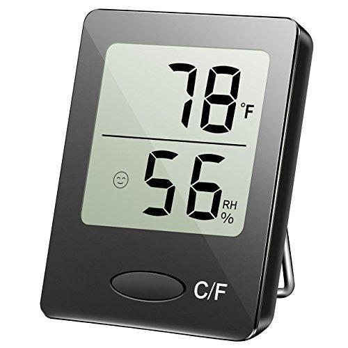 Digitaler Thermometer mit Hygrometer, Thermo-Hygrometer, Hygrometer Luftfeuchtigkeit, Raum Thermometer, 4.5x1.6x5.8cm(Schwarz)