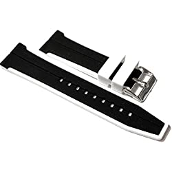 24mm Watch Strap. Black with White Edge in Silicone Rubber.