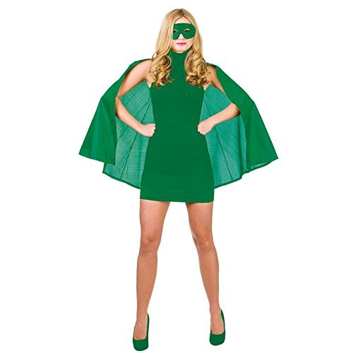für Damen aus kurzem Cape und Maske (Grüne Superhelden)