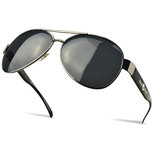SUHINFE Sonnenbrille Herren Verspiegelt Polarisiert, Sportsonnenbrille für Angeln Fahren Radfahren und Reisen, Schwarz
