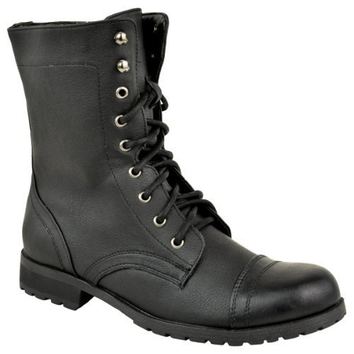 Fashion Thirsty Mujer Militar Combate Cordones Estilo Motero Gabardina Punk Gótico Botines Talla - Piel Sintética Negro, 37