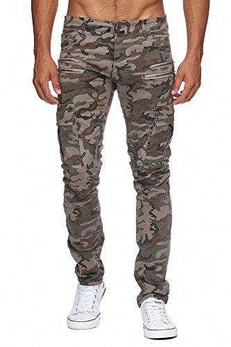 Denim Cargo Jeans (MEGASTYL Herren Biker Jeans Hose Cargo Taschen Stretch-Denim Slim Fit , Größe:W33 / L32, Farbe:Camouflage Light)