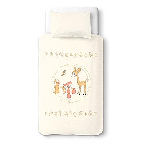 SoulBedroom Le Faon et Ses Amis à la fête Linge de lit pour bébé (Housse de Couette 100x140 cm et Taie d'oreiller - 100% Coton)