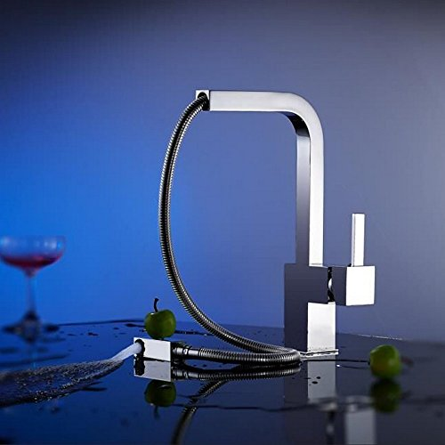 Rmckuva Küchenarmaturen küchenarmatur Modern Rotary Spout Mouth Spüle Und Spüle Einhandmischer Verchromt Herausziehen Messing-Mischer - Rotary-spulen