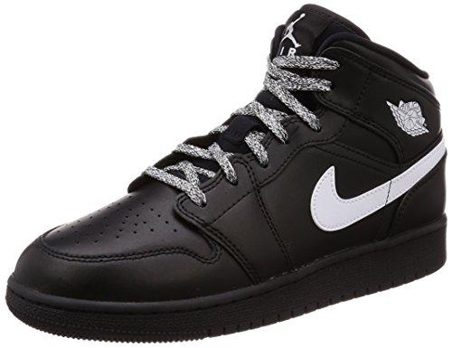 NIKE Jungen AIR Jordan 1 MID (GS) Basketballschuhe, Schwarz White-Black 049, 38.5 EU