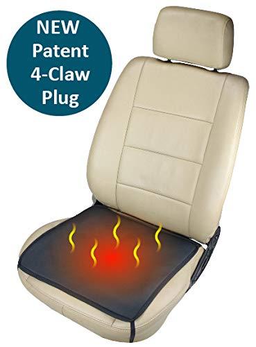 ObboMed SH-4050F 12V 24W Tragbares Beheizbares Auto Sitzkissen mit Premium Zigarettenanzünderstecker und sicheren Befestigungshaken für Fahrzeuge, zu Hause und Büro; Schwarz - 43 x 43 cm