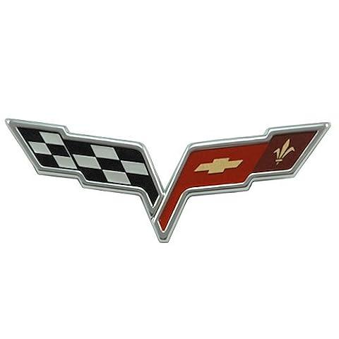 2005-2013 C6 Corvette Front Hood Crossed Flags Badge; OEM Factory Emblem by General Motors