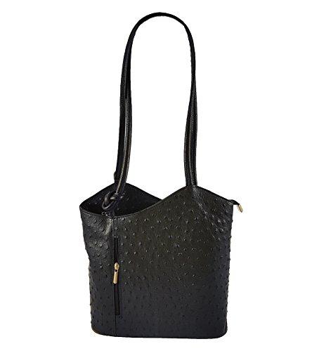 2 in 1 Handtasche Rucksack Designer Luxus Henkeltasche aus Echtleder in versch. Designs (Strauß Schwarz) (Tasche Handtasche Rucksack)