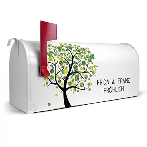 BANJADO US Mailbox | Amerikanischer Briefkasten 51x22x17cm | Letterbox Stahl weiß | mit Motiv WT Laubzauberbaum, Briefkasten:ohne Standfuß