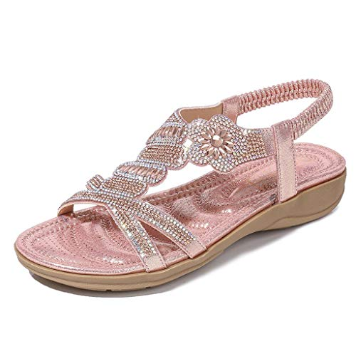 Supertong Women Flat Sandals, Mode Summer Bohemian Rhinestone Flowers PU Leather Flip Flops Peep Toe Comfortable Women Beach Shoes Beach Flat Sandals - Tan Leder-plattform