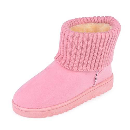 Huateng Frauen Klassische Schneeschuhe Strickwolle Manschette Patchwork Weibliche Warme Plüsch Pelzigen Baumwolle Flache Schuhe - Pelz-manschette Bootie