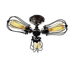Unitary BRAND Vintage Barn Metal Semi Flush Mount Light Max 180W With 3 Lights Black and Silver Finish from Unitary