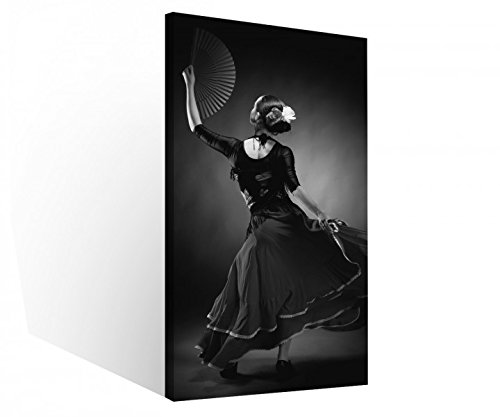 Leinwand 1 Tlg Sport Tanz Flamenco schwarz weiß Tänzerin Kleid Leinwandbilder Bild Bilder Holz fertig gerahmt 9R707, 1 Tlg BxH:40x80cm (Sport-bilder Gerahmt)
