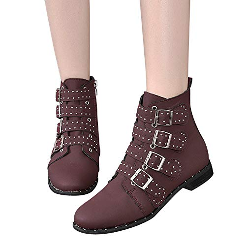 TianWlio Stiefel Frauen Herbst Winter Schuhe Stiefeletten Boots Knöchel Kurze Stiefeletten Volltonfarbe Wildlederstiefel Schuhe Reißverschluss Stiefel Lila 36
