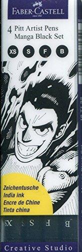 Faber-Castell 167132 Feutre PITT artist pen Manga black étui de 4