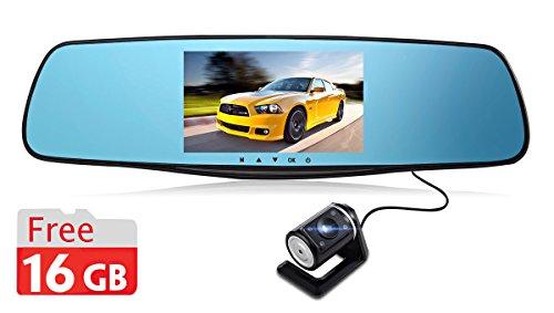 Rexing X80 Videocamera per Auto, TFT LCD FHD 1080P, Doppia Lente, Scheda di Memoria 16 (Gps Specchietto Retrovisore)