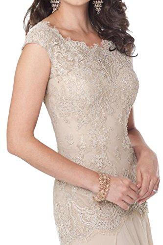 Milano Bride Elegant Champagner Spitze Chiffon Abendkleider Ballkleider Partykleider Neu fuer brautmutter Etui Gelb