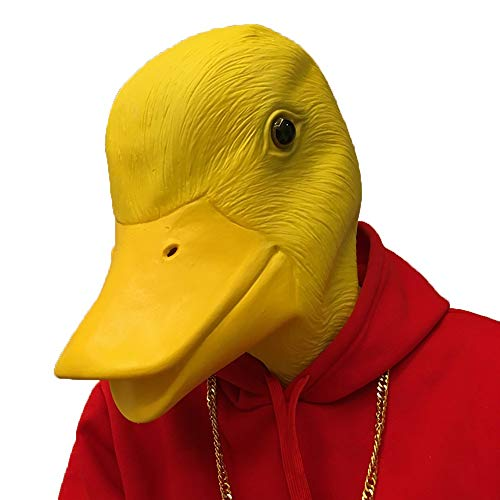 Halloween lustige Maske großen Schwanz gelbe Ente Tierkopf Abdeckung Kostüm Cos Latex Tiermaske Bar Magic Show Requisiten (Color : Yellow Duck) (Halloween-kostüme Lustige Männer Für Diy)