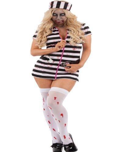 Halloween Kostüm blutiger Gefangener schwarz/weiß gestreift mit Handschellen-Gürtel Größe (Halloween Gefangener Kostüme)