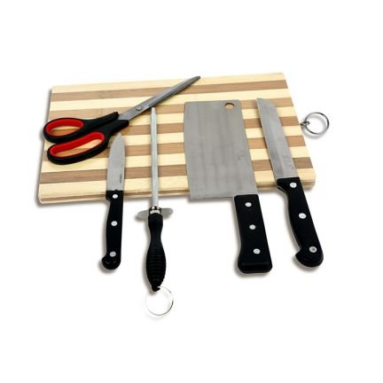 STARVIN Premium Wooden Chopping / Cutting Board with Stainless Steel Knife set of 5 Pcs M-10  available at amazon for Rs.429