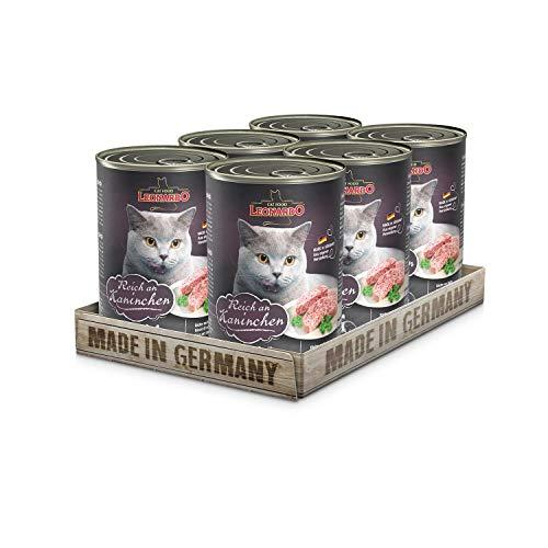 Leonardo Nassfutter [6x400g Kaninchen] | Getreidefreies Nassfutter für Katzen | Feuchtfutter Alleinfutter aus der Dose - Leonardo Katzenfutter