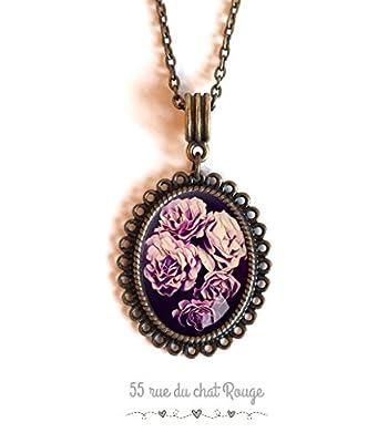 Collier cabochon ovale, Fleurs rose pourpre violet, bouquet de fleur
