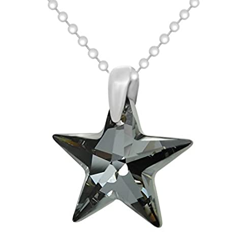 Black Sterling Silver 925 Made with Crystals from Swarovki Star Pendant Necklace for Women,18