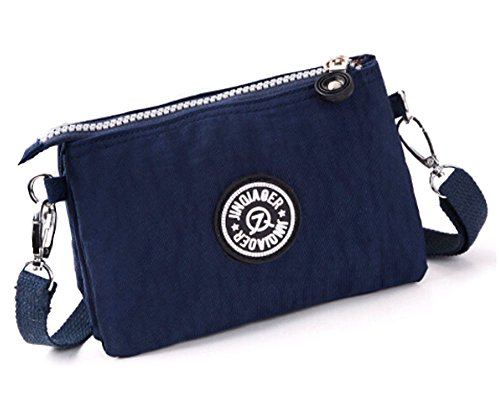 fanselatm-womens-leisure-solid-waterproof-nylon-mini-handbags-cellphone-pouch-dark-blue