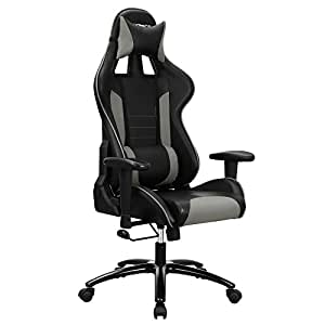 songmics fauteuil gamer chaise gaming fauteuil de bureau dossier haut rembourrage en mousse. Black Bedroom Furniture Sets. Home Design Ideas