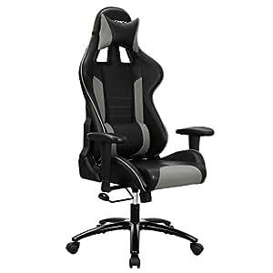 songmics fauteuil gamer chaise gaming fauteuil de bureau dossier haut rembourrage en mousse. Black Bedroom Furniture Sets. Home Design Ideas