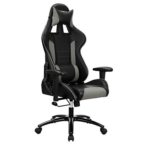 SONGMICS Bürostuhl Racing Stuhl Gamingstuhl mit hoher Rückenlehne Formschaum gepolsterte Sitzschale verstellbare Kopfkissen und Lendenkissen für Soho- oder Büroarbeit Schwarz Grau RCG17GY